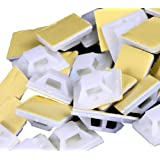 Mini Skater White Nylon Plastic Square Type Self-Adhesive+Screws Hole Mounting Wire Bundle Fixer Holders Organizer,5mm Cable Tie Wire Rope Tube Management, Base Clamps Fastener Cord Clip (50 Pcs)