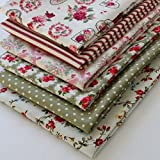 6 Fat Quarters - Pink, Red and Green, Vintage Style (includes free patchwork pattern)
