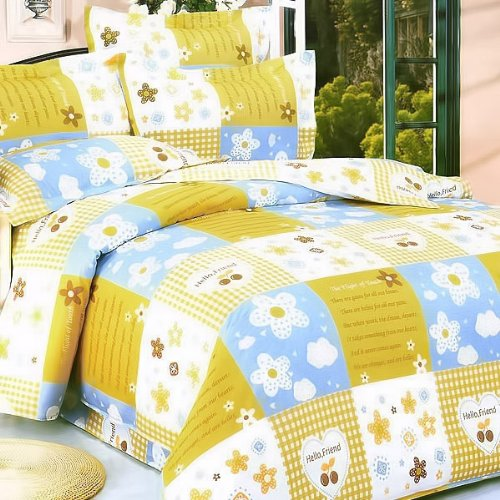 Blancho Bedding - [Yellow Countryside] 100% Cotton 3PC Comforter Cover/Duvet Cover Combo (Twin Size)