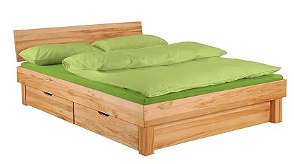 XXS® Möbel Massiv Holzbett Campino mit 4 x Schublade 180 x 200 cm massiv Kernbuche widerstandsfähig praktische Schubladen mit viel Stauraum geölte Oberfläche Blende vorne am Bett teilzerlegt Lager Paketversand