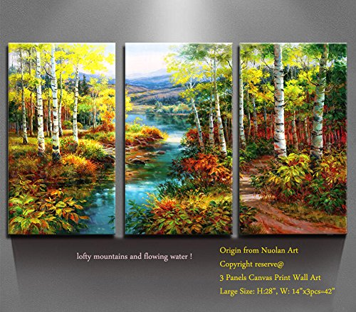 Home Decor Canvas Prints Wall Art Birch Wood Modern Landscape Framed ...