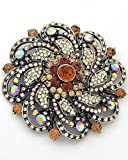 BIG Aurora Borealis and Topaz Crystal Flower Brooch Pin