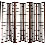 Oriental Furniture 6 ft. Tall Window Pane Shoji Screen - Walnut - 6 Panels