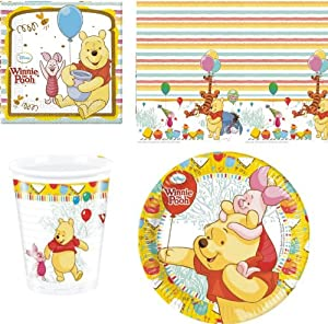 WINNIE THE POOH NEW DESIGN BIRTHDAY PARTY TABLEWARE PACK NAPKINS PLATES CUPS TABLECOVER