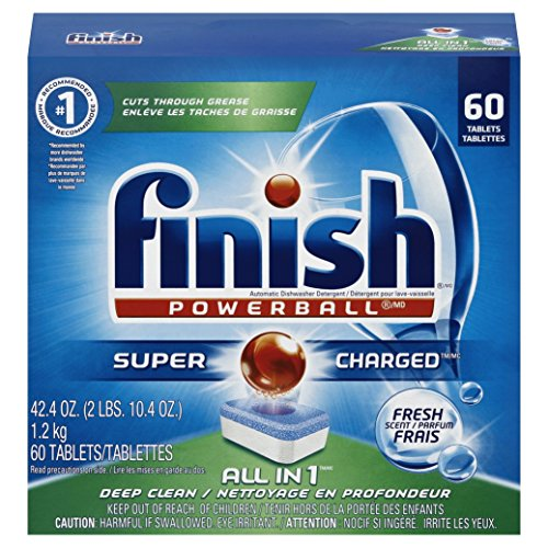 Finish All in 1 Powerball, 60 Tablets, Super Charged Automatic Dishwasher Detergent, Fresh Scent (All Dishwasher Detergent compare prices)
