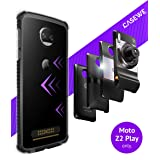 CaseWe - Motorola Moto Z2 Play Protective Bumper Case Cover/Compatible with Moto Mods - Clear & Matte Black (Color: Clear & Matte Black, Tamaño: 5.5 Inch)