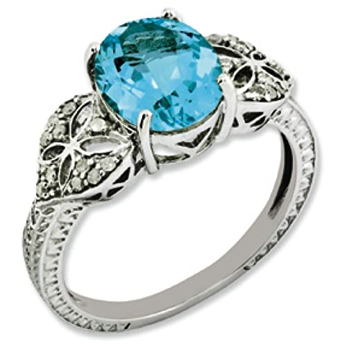 Sterling Silver Oval Blue Topaz and Rough Diamond Ring - Ring Size Options Range: J to T