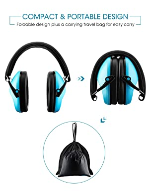 Mpow 068 Kids Ear Protection, NRR 25dB Noise Reduction Ear Muffs, Toddler Ear Protection, Protective Earmuffs for Shooting Range Hunting Season, for Toddlers Kids Children Teens-Blue (Color: Blue)