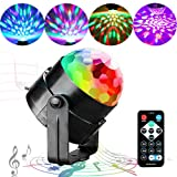 Disco Lights Party Lights QINGERS Dj Stage Light 7 Colors Sound Activated For Christmas KTV Club Lights Romantic decoration (Color: disco ball, Tamaño: black)