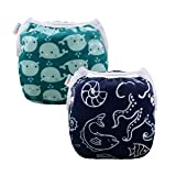 ALVABABY Swim Diapers Boys & Girls One Size Reuseable Adjustable 2pcs SW18-21 (Color: happy dolphin and fish, Tamaño: 2 pack)