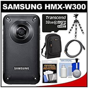 Samsung HMX-W300 Shock & Waterproof Pocket HD Digital Video Camera Camcorder (Black) with 32GB Card + Case + Tripod + HDMI Cable + Accessory Kit