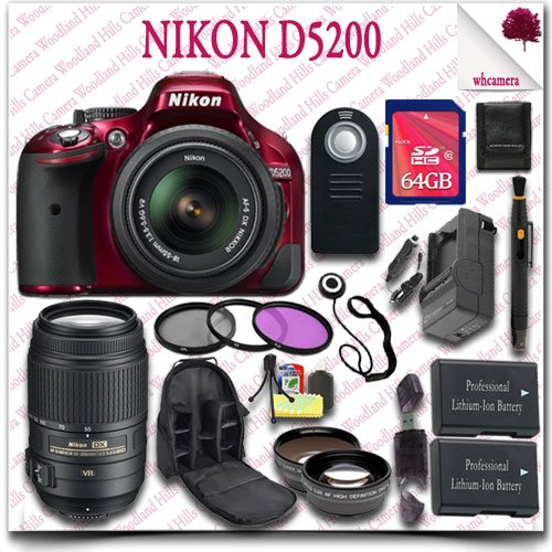 Nikon D5200 Digital Slr Camera With 18-55Mm Af-S Dx Vr (Red) + Nikon 55-300Mm Af-S Dx Vr Lens (Refurbished) + 64Gb Sdhc Class 10 Card + Wide Angle Lens / Telephoto Lens + 3Pc Filter Kit + Slr Camera Backpack + Wireless Remote 21Pc Nikon Saver Bundle
