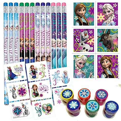 Cheapest Prices! Birthday Party Favor Set for 12 - 12 Frozen Pencils, 16 Frozen Tattoos, 24 Frozen S...