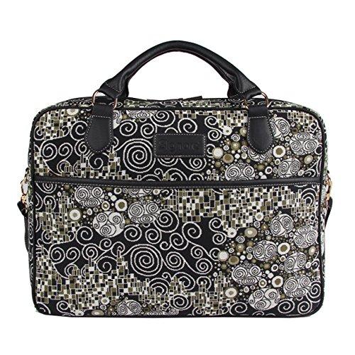 Borsa briefcase donna di Signare in tessuto stile arazzo alla moda, 15,6 pollici Gustav Klimt (Il bacio)