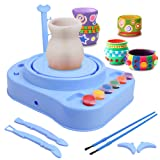 IAMGlobal Pottery Wheel, Pottery Studio, Craft Kit, Artist Studio, Ceramic Machine with Clay, Educational Toy for Kids Beginners (Blue) (Color: Blue)