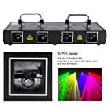 LED Stage Light, 100 Multi-Patterns Stage Light 4 Lens 30W 7CH DMX512 Sound Actived Disco DJ Party House Xmas Effect Lights