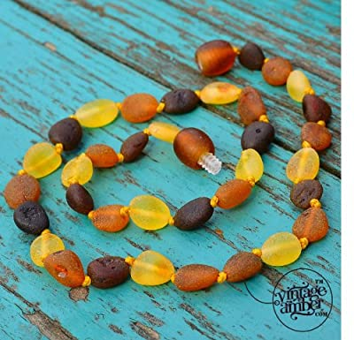 Raw Baltic Amber Teething Necklace for Baby - Maximum Pain Relief - Beans Shape from Vintage Amber