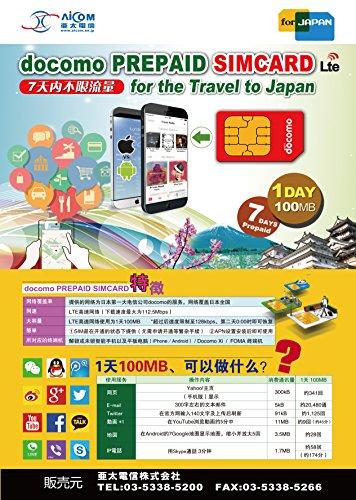 限定販売プリペイド データSIMカード 7日使い放題!docomo SIM( LTE/4G 3G対応)