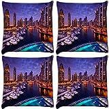 Snoogg Lake View At Night Pack Of 4 Digitally Printed Cushion Cover Pillows 12 X 12 Inch