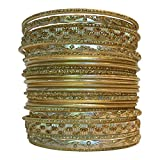 Set of Light Gold Tone Bangle Bracelets for Women