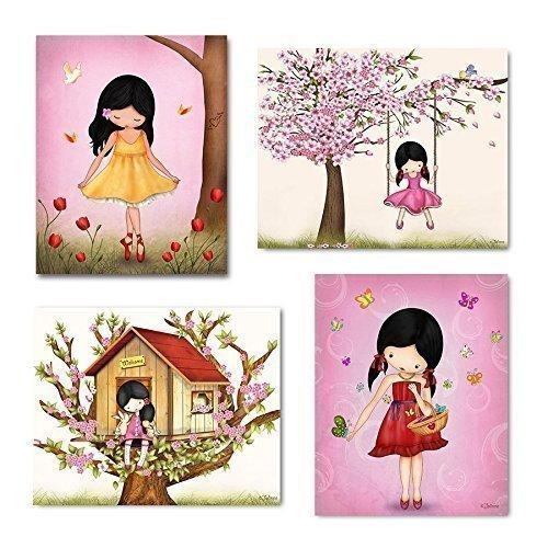 Little Girl Bedroom Art: Pink Wall Art Set For Girls Room Kids Bedroom Decor