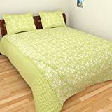 Azaan Décor 120 TC Cotton Double Bedsheet with 2 Pillow Covers - Green