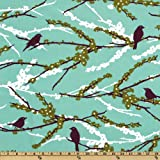 Aviary 2 Sparrows Plum Fabric