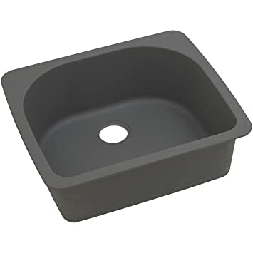 "Elkay ELGS2522GY0 Granite 25"" x 22"" x 8.5"" Single Bowl Top Mount Kitchen Sink, Dusk Gray"