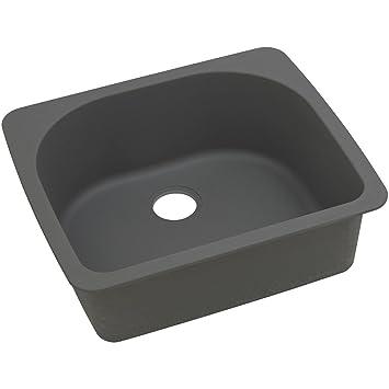 "Elkay ELGS2522GY0 Granite 25"" x 22"" x 8.5"" Single Bowl Top Mount Kitchen Sink, Dusk Gray"