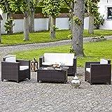 Salon de jardin en résine tressée choco/ecru - Canapé + 2 fauteuils + table basse