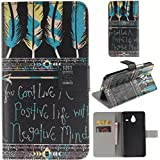 Lumia 640 XL Case,Enjoy Sunlight Nokia Lumia 640 XL Case Case [Tribal Aztec Feathers] [Stand Feature] Wallet Case [Wallet Function] Flip Cover Leather Case for Microsoft Nokia Lumia 640 XL(Not for Lumia 640) Case with Stylus Pen