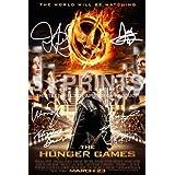 "The Hunger Games Photo Poster 12x8"" Signed PP by 6 Josh Hutcherson Liam Hemsworth Jennifer Lawrence Woody Harrelson Elizabeth Banks Lenny Kravitz Katniss Peetaby 5 Star Prints"