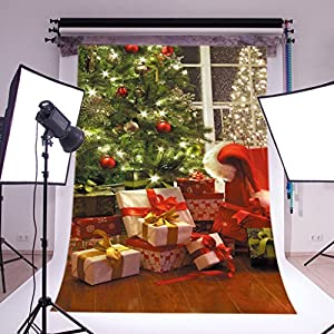 DODOING 3X5ft Christmas Photography Backdrops Red Gift Box Green Christmas Tree Backdrop Wood Floor Children Christmas Digital Background
