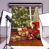 DODOING 3X5ft Christmas Photography Backdrops Red Gift Box Green Christmas Tree Backdrop Wood Floor Children Christmas Digital Background