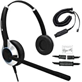 TruVoice Deluxe Double Ear Noise Canceling Call Center/Office Headset & HIS QD Cable For Avaya IP 1608, 1616, 9601, 9608, 9611, 9611G, 9620, 9620C, 9620L, 9621, 9630, 9640 + many more