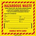 "Brady 121144,  B7569 6X6 Blk,Rd/Yel 100 Pcs/Pkg Haz Lb, 6"" Height x 6"" Width, Black, Red on Yellow, Legend ""Hazardous Waste Federal Law Prohibits Improper Disposal...Etc - New Jersey Specific""  (100 per Package)"