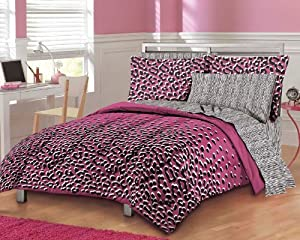 girls teen hot pink leopard print comforter