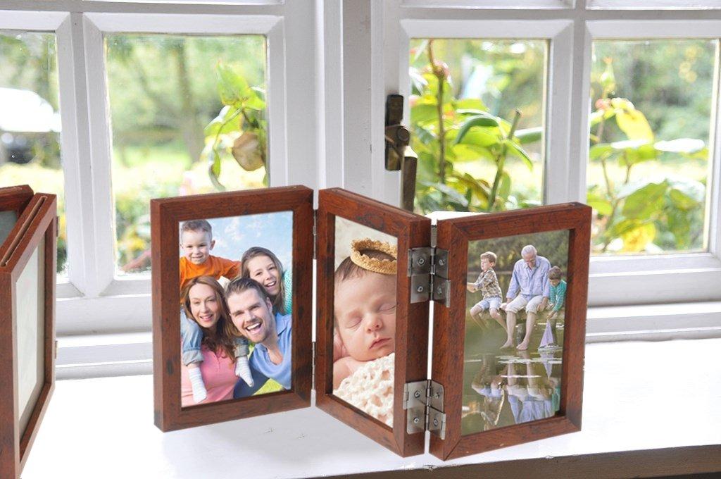 CECIINION Wood Folding Photo Frame Triple Duplex Hinged Picture ...