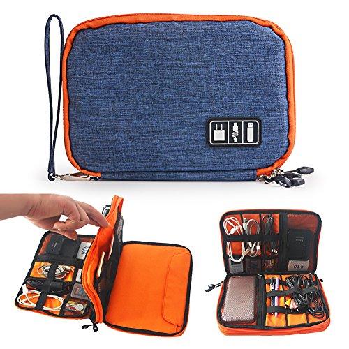 Zuoao Universale Double Layer Organizzatore Elettronica Accessori Custodia da Viaggio per Dispositivi Elettronici e Accessori Portatile