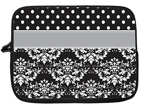 """10 Inch Rikki Knighttm Rikki Knight Initial """"Z"""" Grey Black Damask Dots Monogrammed Laptop Sleeve - Ideal For Ipad 2,3,4, Ipad Air, Galaxy Note, Small Notebooks And Other Tablets front-630460"""