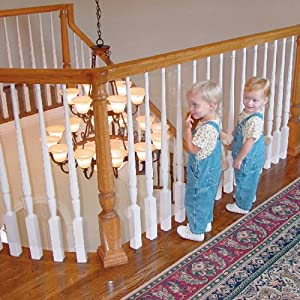 Image: Kidkusion Kid Safe Banister Guard - Measures 3 feet x 15 feet roll - It helps to prevent falls and keep the toys upstairs
