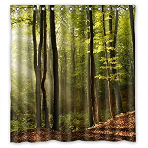 Relax Green Tree Forest Fog Fairy Land Waterproof Shower Curtain 66 W X 72 H