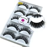 5 Pairs/Box 3D Real Mink False Eyelashes LASGOOS 100% Siberian Mink Fur Luxurious Wispy Natural Cross Thick Long Fake Eye Lashes K01 (Color: Black)