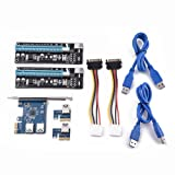 Wal front PCI Express Power Connector, PCI-E to Dual Port PCI-E Extension Card PCI Express Riser Adapter USB3.0 Mining (Color: default)