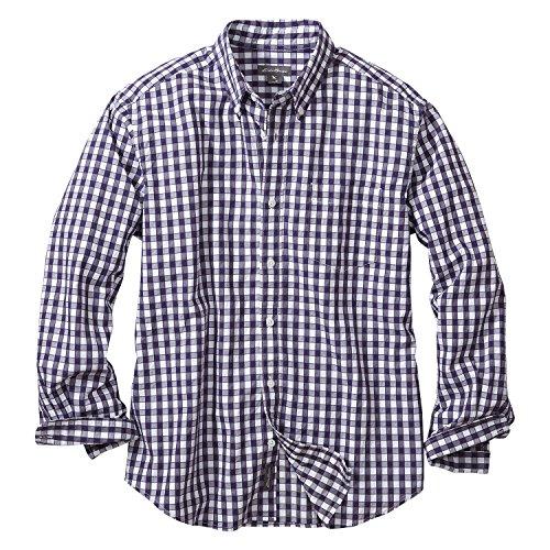 (エディー・バウアー) Eddie Bauer 長袖リバースドビーギンガムチェックボタンダウンシャツ(グレープ S)