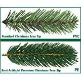 Best Artificial (TM) 7ft Premium Real Feel Hinged Christmas Tree with 1690 Full Spruce PE Tips for Indoor Xmas