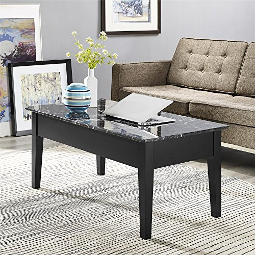 Dorel Living Faux Marble Lift Top Storage Coffee Table Black New Ebay