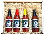 Zombie Cajun Hot Sauce Gourmet Food Gifts Basket Set - Not Just a Novelty Gift for a Zombie Apocalypse Survival Kit - 4 of the Best Bottles of Louisiana Spiced Cayenne, Jalapeno, and Habanero Pepper Sauces