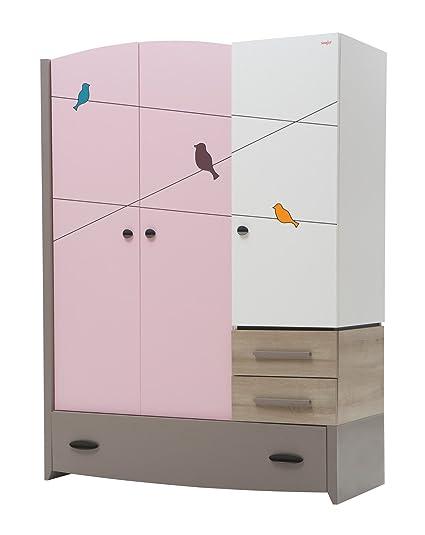 New Joy Pink Birdy 3-Door Children Wardrobe, 195 x 141 x 60 cm