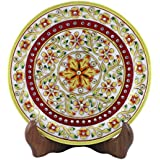 Style Souk White Marble Decorative Plates Meenakari Designe Plate With Stand Set Of 1 Pcs